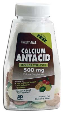 "View CALCIUM ANTACID TABLETS 50 COUNT 500 MG CHEWABLE ASSORTED FLAVORS ""COMPARE TO TUMS RS"""