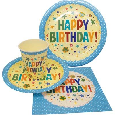 View PARTY SOLUTION PARTY SET HAPPY BIRTHDAY BOY INCLUDES 18 EACH- 8 CT 9 INCH PLATE/ 8 CT 7 INCH PLATE/8 CT 9 OZ CUPS/ 20 CT NAPKINS