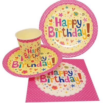View PARTY SOLUTION PARTY SET HAPPY BIRTHDAY GIRL INCLUDES 18 EACH- 8 CT 9 INCH PLATE/ 8 CT 7 INCH PLATE/8 CT 9 OZ CUPS/ 20 CT NAPKINS