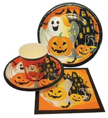 View PARTY SOLUTION PARTY SET HALLOWEEN INCLUDES 18 EACH- 8 CT 9 INCH PLATE/ 8 CT 7 INCH PLATE/8 CT 9 OZ CUPS/ 20 CT NAPKINS