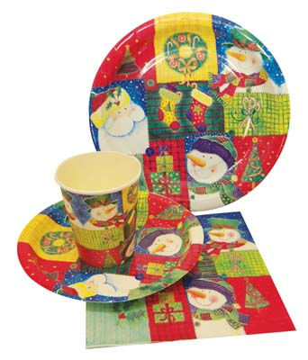 View PARTY SOLUTION PARTY SET CHRISTMAS INCLUDES 18 EACH- 8 CT 9 INCH PLATE/ 8 CT 7 INCH PLATE/8 CT 9 OZ CUPS/ 20 CT NAPKINS