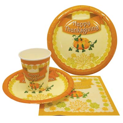 View PARTY SOLUTION PARTY SET THANKSGIVING INCLUDES 18 EACH- 8 CT 9 INCH PLATE/ 8 CT 7 INCH PLATE/8 CT 9 OZ CUPS/ 20 CT NAPKINS
