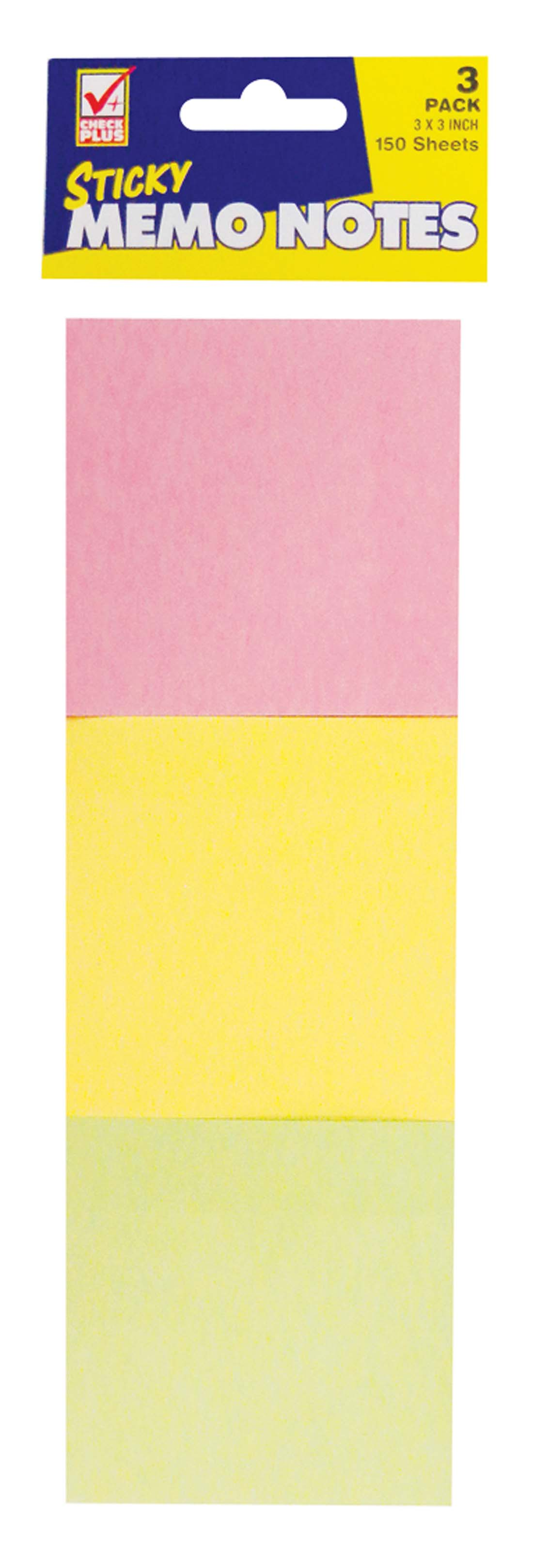 View STICKY NOTE 3 PK 150 CT 3 X 3 INCH ASSORTED COLORS