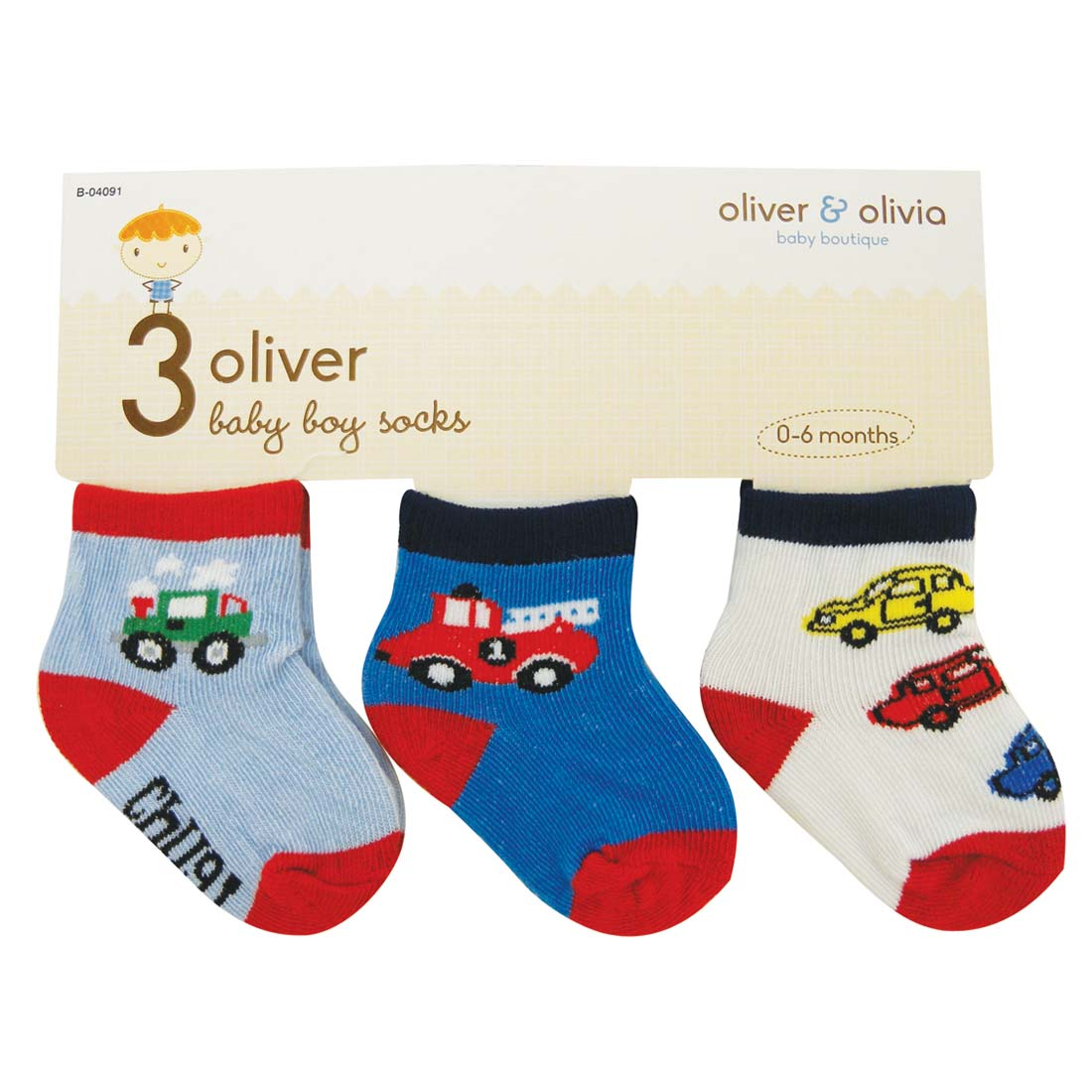 View BOY'S INFANT SOCKS 3 PAIR ASSORTED COLORS & DESIGNS SIZE 0-6 MONTHS