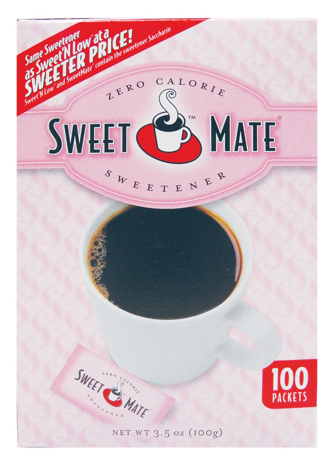 "View SWEETMATE SWEETENER PACKETS 100 CT 3.5 OZ ""COMPARE TO SWEET'N LOW"""