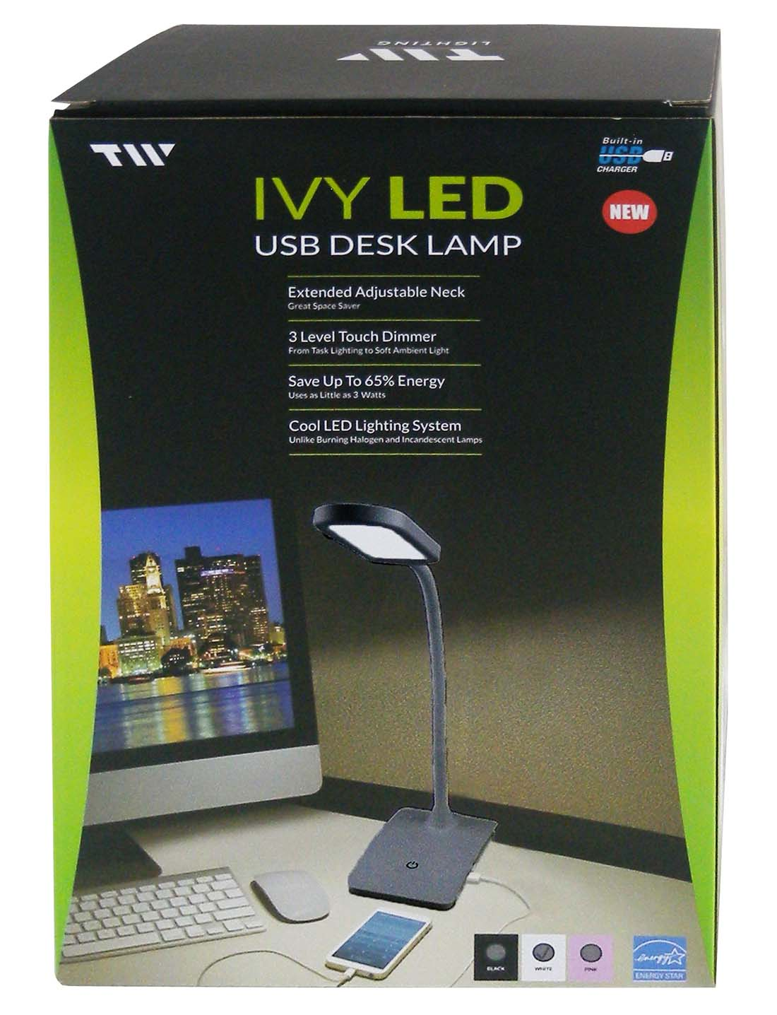 View DESK LAMP LED LIGHT & USB CHARGER BLACK