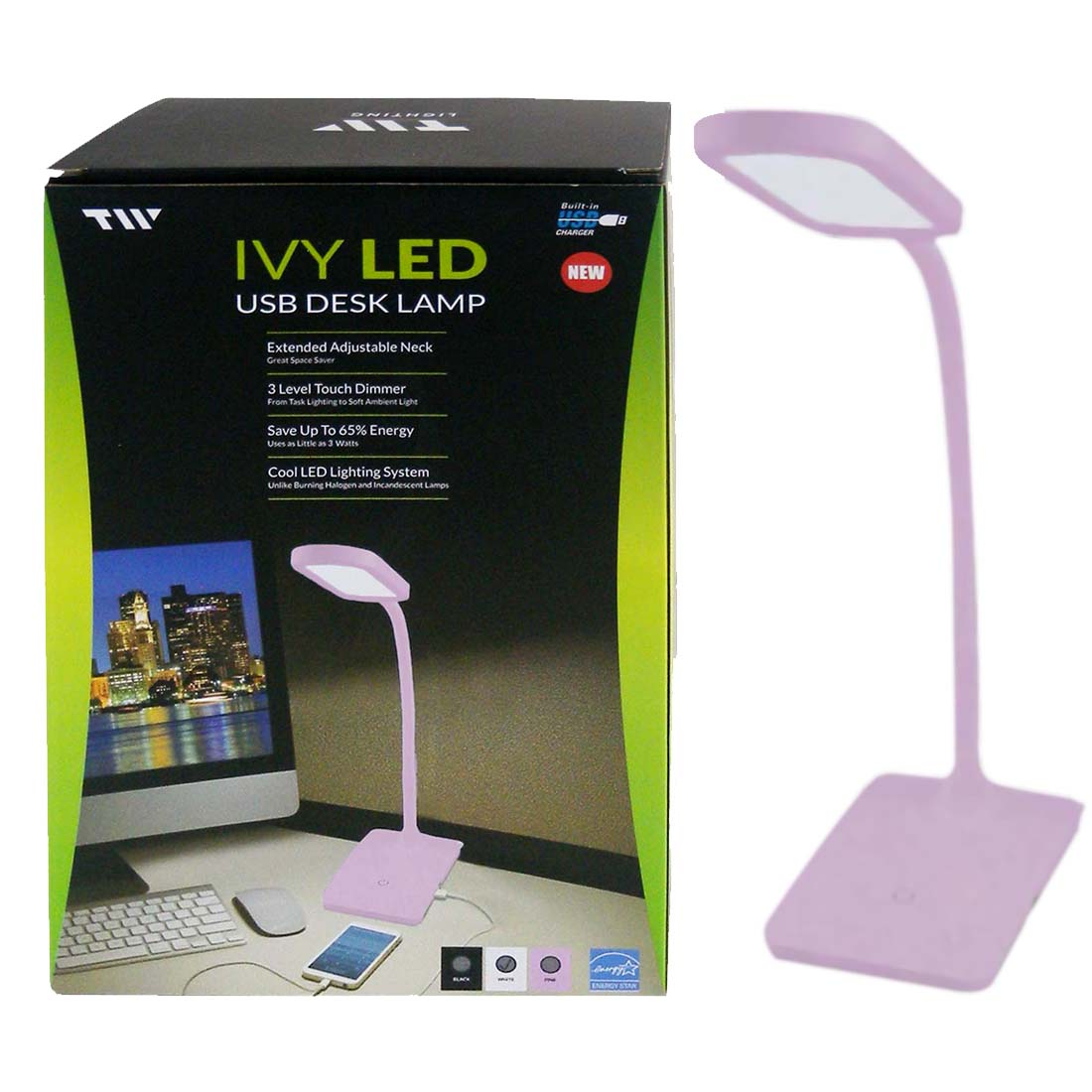 View DESK LAMP LED LIGHT & USB CHARGER PINK