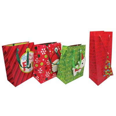 View CHRISTMAS BOTTLE BAG AND GIFT BAG MEDIUM ASSORTED DESIGNS PREPRICED $1.00