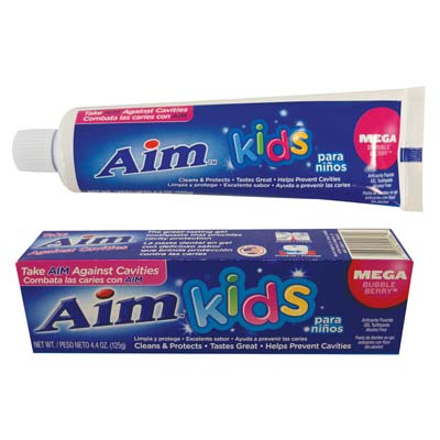 View AIM KIDS TOOTHPASTE 4.4 OZ GEL MEGA BUBBLE BERRY