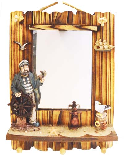 View HANGING WALL MIRROR DECO. 18 X14 INCH WITH HOOKS WOODEN PIRATE/SEAGULL THEMED