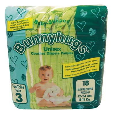 View BUNNYHUGS DIAPER 18 PK SIZE 3 MEDIUM 12-24 LBS **MADE IN USA**