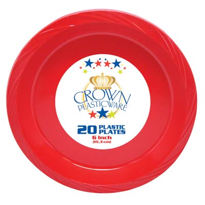 View CROWN PLASTICWARE PLATE 20 CT 6 INCH RED