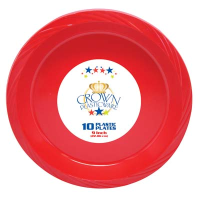 View CROWN PLASTICWARE PLATE 10 CT 9 INCH RED