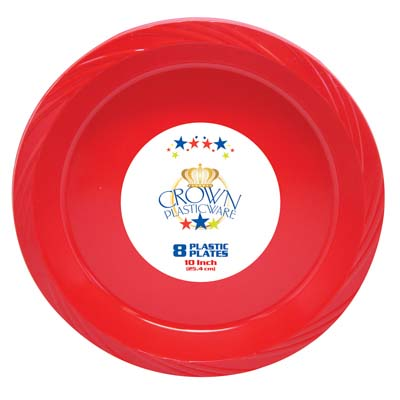 View CROWN PLASTICWARE PLATE 8 CT 10 INCH RED