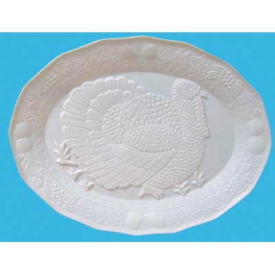 View TURKEY PLATTER 17 X 13 INCHES OVAL WHITE