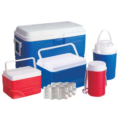 View COOLER SET 5 PC-11.75 GL COOLER/ 3.75 GL COOLER/ 1.6 GL COOLER/ 0.65 GL JUG/ 0.35 GL JUG/ 3 ICE PACKS-RED & BLUE