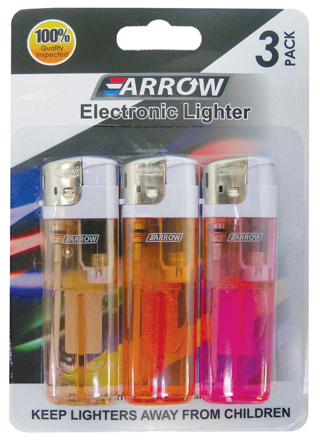 View ARROW ELECTRONIC LIGHTER 3 PACK ASSORTED COLORS