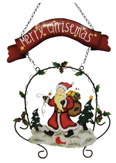 View HANGING HAND PAINTED CHRISTMAS DECORATION 26 INCH (INCLUDING HANGING CHAIN)