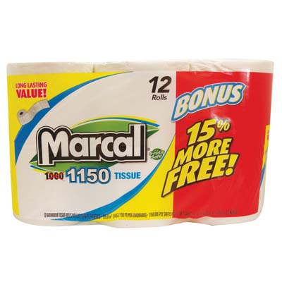 View MARCAL BATH TISSUE 12 PACK 1150-1 PLY SHEETS **MADE IN USA**