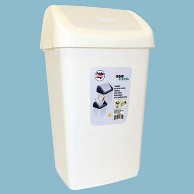 View TRASH BIN 2.4 GALLON WITH SWING TOP LID ASSORTED COLORS