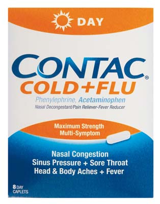 View CONTAC COLD+FLU 8 COUNT EXP 07/2017