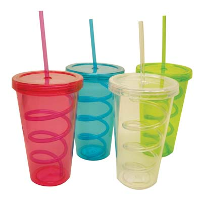 View DRINKING CUP 22 OUNCE WITH SWIRL STRAW ASSORTED COLORS