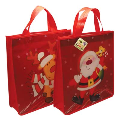 View CHRISTMAS BAG 13 X 12 X 3.5 INCH NON WOVEN SANTA AND REINDEER DESIGNS
