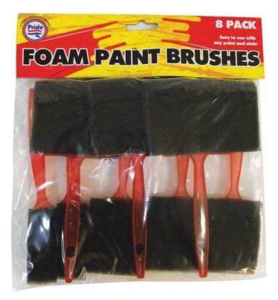 View FOAM PAINT BRUSH 8 PACK ASSORTED SIZES