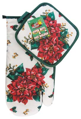 View KITCHEN OVEN MITT/POT HOLDER SET 2 PIECE FLORAL DESIGN