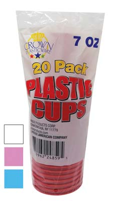 View CROWN PLASTICWARE PLASTIC CUP 20 PACK 7 OUNCE WHITE/PINK/RED/BLUE