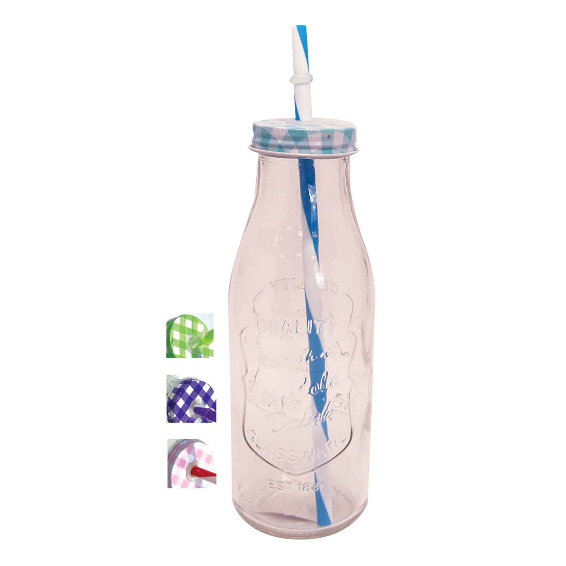 View GLASS DRINKING BOTTLE 17 OUNCE ASSORTED COLORED LIDS CHECKER DESIGNS