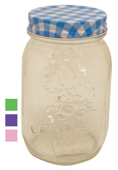 View GLASS MASON JAR 17 OUNCE WITH METAL LID ASSORTED COLORS CHECKER DESIGN