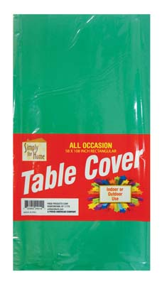 View PLASTIC TABLE COVER 54 X 108 INCH GREEN