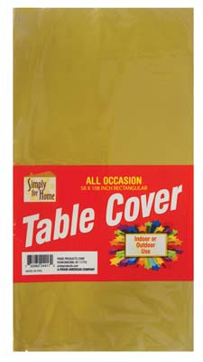 View PLASTIC TABLE COVER 54 X 108 INCH GOLD
