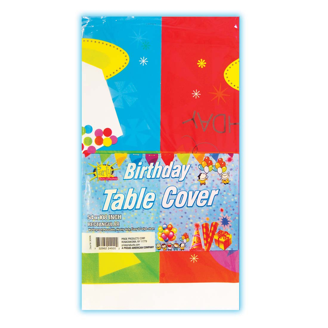 View PLASTIC TABLE COVER 54 X 108 INCH BIRTHDAY