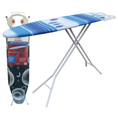 View METAL IRONING BOARD 48 X 13 INCH + COVER/PAD & METAL IRON REST