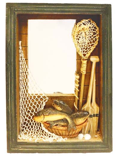 View HANGING WALL MIRROR W/ FISH DECO 15.5 X 11.75 INCH WITH HOOKS WOODEN SHADOW BOX STYLE