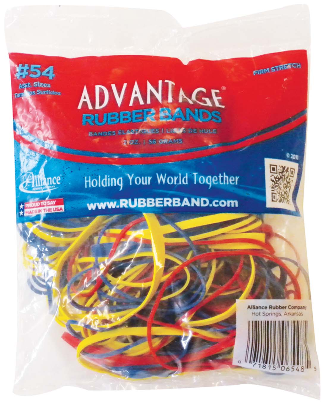 View ADVANTAGE RUBBER BANDS 2 OZ ASSORTED SIZES AND COLORS **MADE IN USA**
