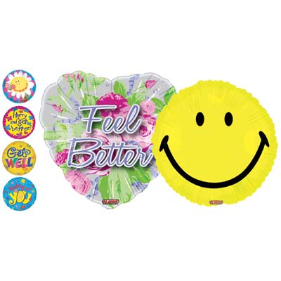 View MYLAR BALLOON 18 INCH GET WELL SOON & SMILEY FACE 6 ASSORTED DESIGNS
