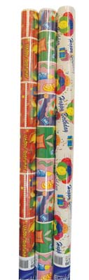 View GIFT WRAP 20 SQ FT ASSORTED GIRLS BIRTHDAY/ JUVENILE DESIGNS