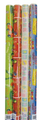 View GIFT WRAP 20 SQ FT ASSORTED BOYS BIRTHDAY/ JUVENILE DESIGNS