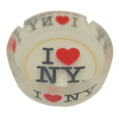 "View ASHTRAY 4 INCH ""I LOVE NY"" FROSTED GLASS"
