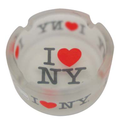 "View ASHTRAY 3 INCH ""I LOVE NY"" FROSTED GLASS"