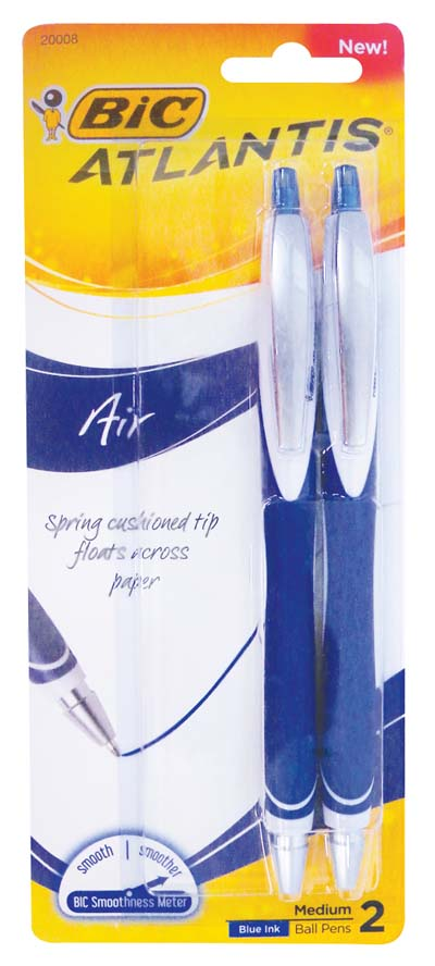 View BIC ATLANTIS BALLPOINT PENS 2 PACK BLUE