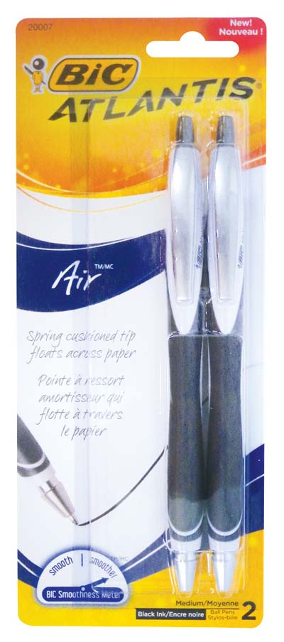 View BIC ATLANTIS BALLPOINT PENS 2 PACK BLACK