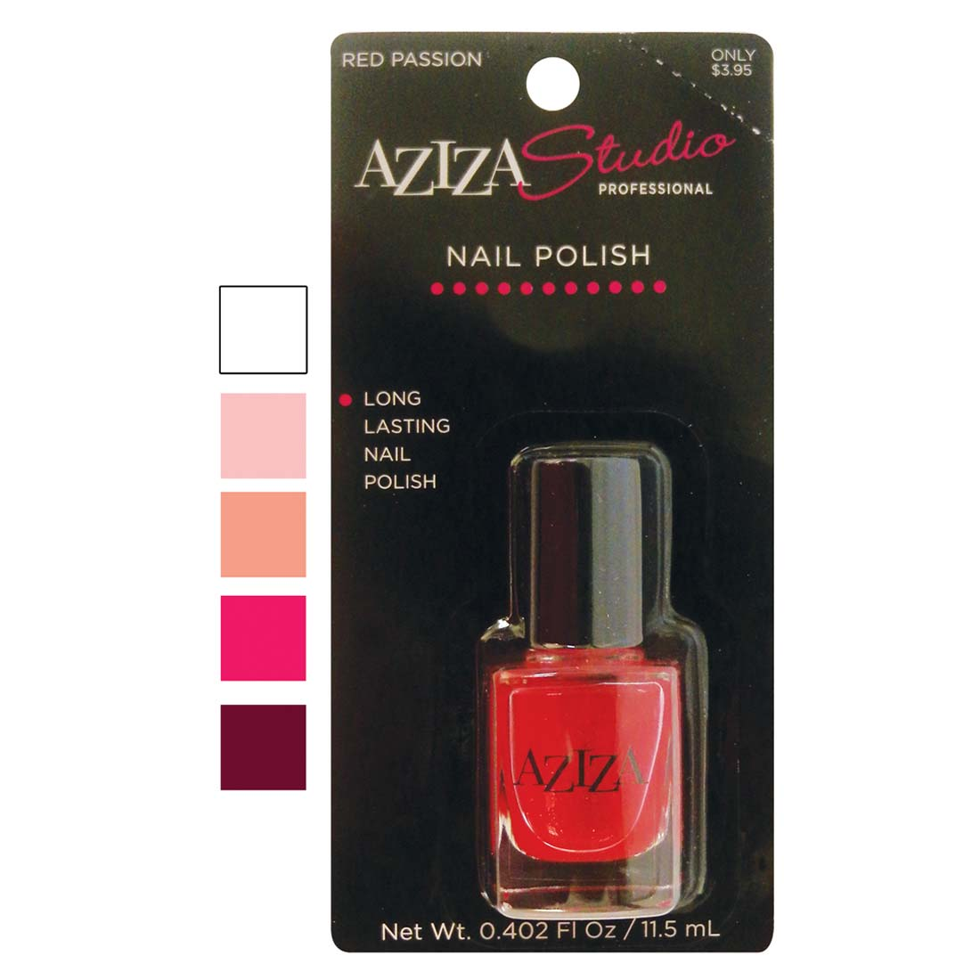 "View AZIZA PROFESSIONAL NAIL POLISH .40 OUNCE ASSORTED COLORS ""PREPRICED $3.95"""