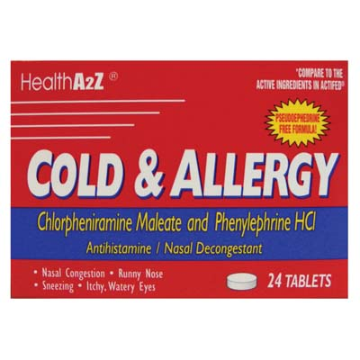 "View COLD AND ALLERGY 24 TABLETS ""COMPARE TO ACTIFED"""