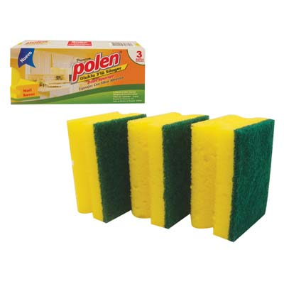 View POLEN SCRUBBING DISH SPONGE 3 PACK NAIL PROTECTION