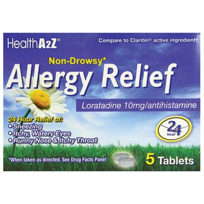 "View ALLERGY RELIEF 24 HR 5 CT LORATADINE 10 MG NON-DROWSY ""COMPARE TO CLARITIN"""