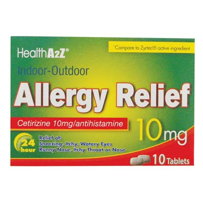 "View ALLERGY RELIEF TABLETS 10 CT 10 MG ""COMPARE TO ZYRTEC"" EXP 10/2017"